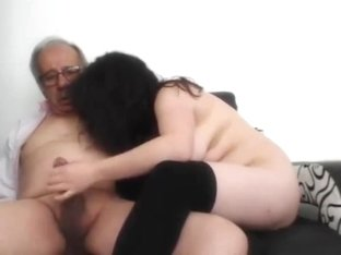 A junior woman masturbate an old man and he finished