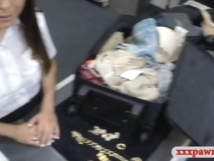 Amatuer latina stewardess gets banged at the pawnshop