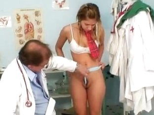 School girl Rachel Evans forced to suck on old doctor cock