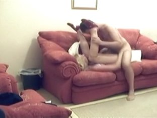 Husband sneakily tapes himself fucking his wife on the sofa