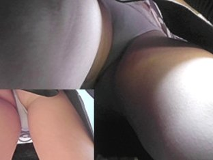 Amateur spy upskirts realized in the public bus