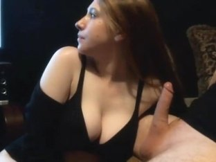 Busty pretty babe giving a hot deepthroat