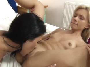 Sexy slender lesbian lovers drive each other's wet cunts to pleasure