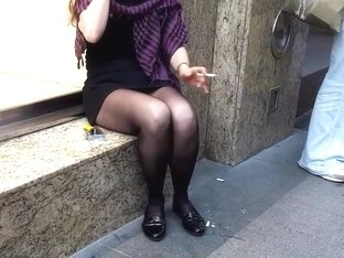 Her perfect pantyhosed sexy legs upskirt