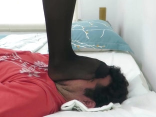 Enola, Trampling her slave face with new pantyhose, eyes punishment! HARD