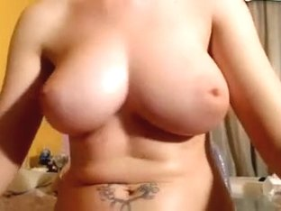 Hot sweetheart with large natural milk cans has quick ride on a sex toy