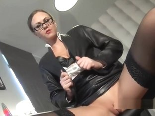 Leather boss Lady wants your cum