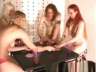Teen darlings losing clothes at strip poker game
