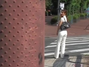 Candid street shots of cute teen in tight white jeans