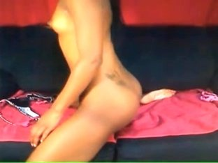 Ebony girl toys pussy on webcam-show