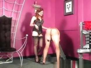 Mistress in nylon stockings spanking