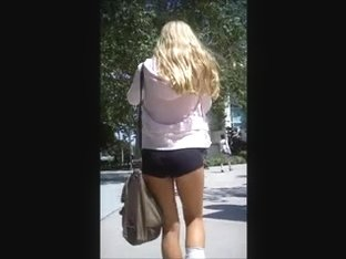 Candid University Blonde Butt in Spandex