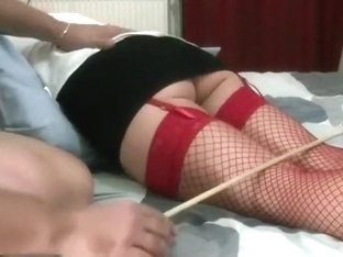 Girlfriend caned on the bed
