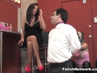 Lesbian femdom mistresses and their new slaves