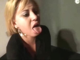 Slut humiliated with hard face slapping cum on face and piss