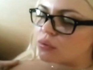 Huge facial for a nerdy blonde gf