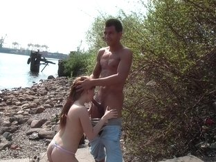 Kveta in lustful out door sex video filmed on a beach