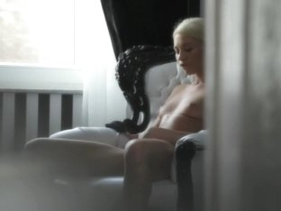 Hot blonde with braids gets lonely and plays with her sexy cunt