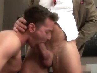 Big dick gay threesome and facial