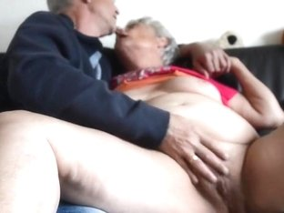 Fat old granny kissing