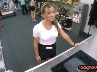 Lovely waitress banged at the pawnshop to earn extra money
