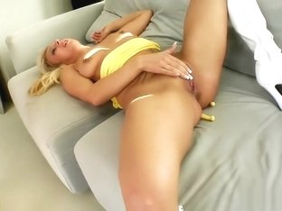 Tattooed blonde with nice tits Tina is addicted to hardcore sex action