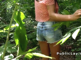 Hottie show boobs and fuck outdoor pov