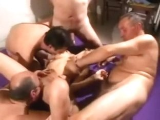 Asian milf whore gets gangbanged by white strangers as hubby films