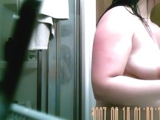Chubby wife before and after shower