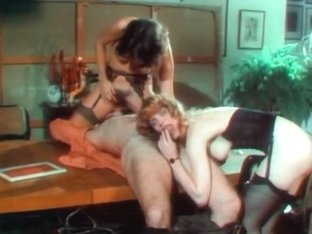Crazy lesbian retro scene with Rocky Rhodes and China Leigh