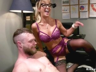 Busty Milf dominates tied up male slave
