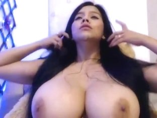 Busty latin beauty and a dildo