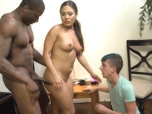 Asian ho rides black cock