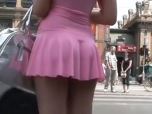 Hot babe in short pink dress