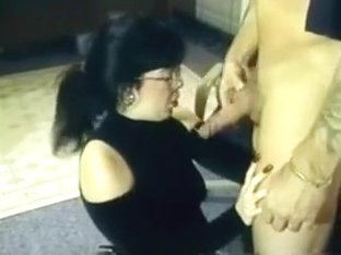Secretary Gets Glasses Covered In Jizz
