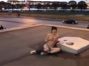 Exhibitionist girl naked in the street