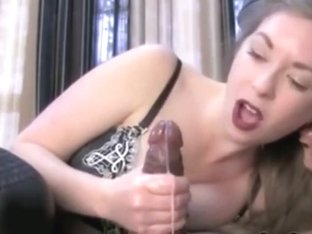 Mistress enjoying male slave masturbation