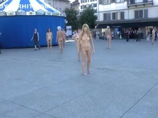 Nude performance art in European public square
