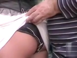 Classy broad has her white skirt pulled up and her sexy underwear revealed