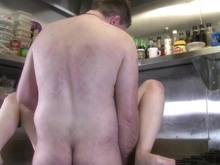 Filthy pair fucking in the kitchen for GirlsOutWest