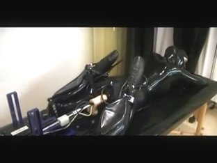 Bound latex babe machine fucked