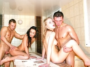 Hot college sluts go wild at the sauna party