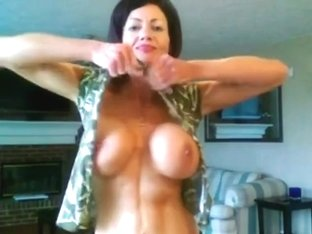 FBB Muscle Milf Showing off her Ripped Body and Huge Tits