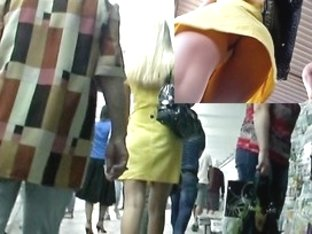 Chic golden-haired bimbo in fresh upskirt episode