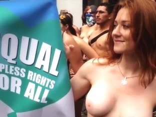 Busty American women doing the nude protest for equality