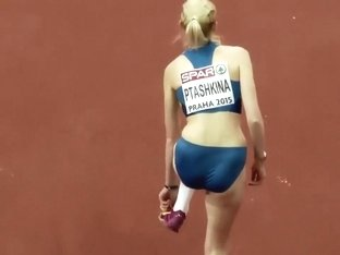 Russian sportswoman enters a long jump competition
