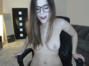 Hot Girl with Nice Tits and Glasses Cumming