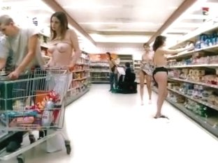 Topless beauties in the grocery store get drawn