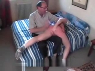 dad and friend spank pretty daughter