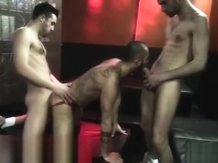 Muscle gay threesome with eating cum